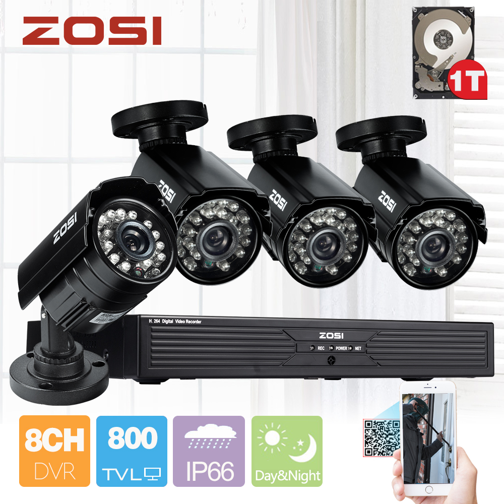 ZOSI 8CH H.264 DVR 1TB HDD 4x 1/3″CMOS 800TVL IR Cut Day Night Waterproof Outdoor CCTV Camera Home Security Camera System Kits