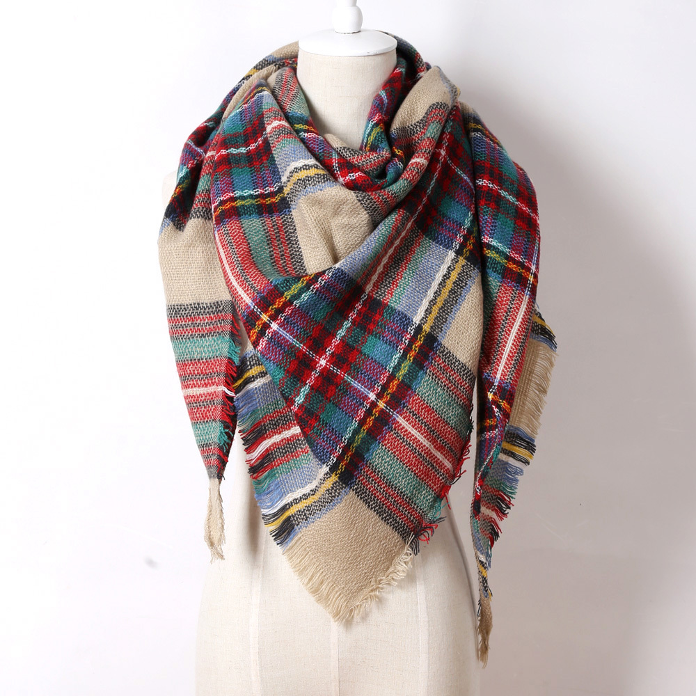 2015 Brand Cashmere Design Triangle Scarf Plaid Fashion Warm in Winter Shawl For Women pashmina shawl M8062(China (Mainland))