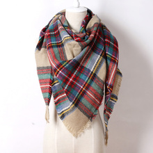 2016 Brand Cashmere Design Triangle Scarf Plaid Fashion Warm in Winter Shawl For Women pashmina shawl M8062(China (Mainland))