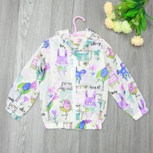Retail next new baby girls cartoon outerwear & coats kids jeacket Graffiti animal Sunscreen hooded full sleeve children clothing