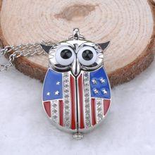 Unique Antique Fashion Alloy Vivid Owl Pocket Watch Pendent Necklace Chain Vintage Fob Watch Active Wings