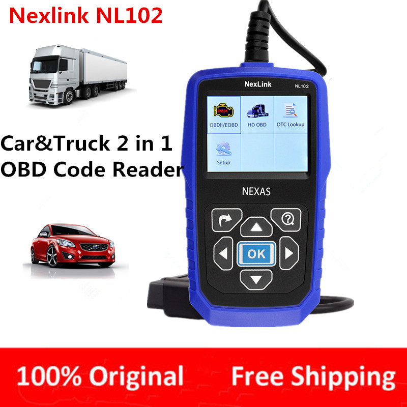 Newest Car Truck 2 in 1 Auto Diagnostic-Tool Automotive Scanner NL102 Diesel Heavy Duty Engine Analyzer with Battery Tester(China (Mainland))