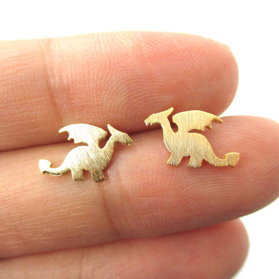 Min 1pc Small Dragon Silhouette with Wings Animal Shaped Stud Earrings in Gold Handmade Animal Jewelry ED077(China (Mainland))