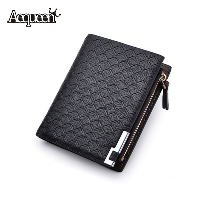 New Multifunction Man Wallets 3 Colors Mens PU Leather Zipper Business Wallet Card Holder Pocket Purse Hot Plaid Pouch Fashion(China (Mainland))