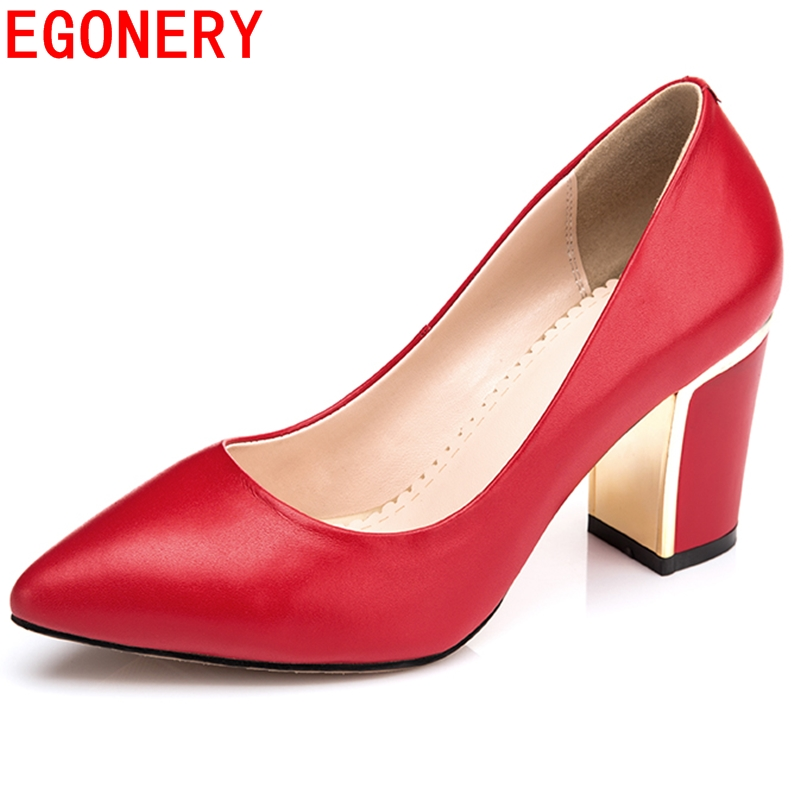 Pointed Toe Elegant matal charm Spring high heels pumps Fashion 2015 High square Heels shoes Women Casual Dress