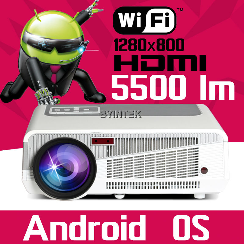 Best Android Smart Wifi Home Theater HDMI USB VGA Digital WXGA Video acTo 1080P LCD LED Projector fUll HD beamer proyector(China (Mainland))