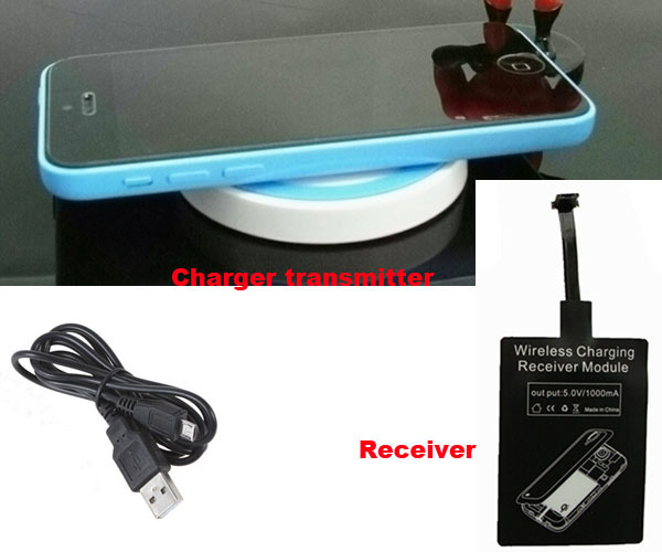 Wireless Mobile Phone Charger Receiver Transmitter Charger Pad +USB Cable For Oneplus One, Asus Zenfone 5, Zenfone 6 A600CG(China (Mainland))