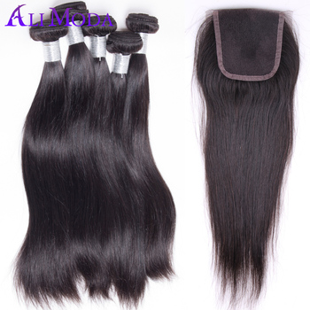 6A Peruvian virgin hair straight with closure 3pcs Peruvian straight hair with 1pc Swiss Lace Closure Human hair with closure
