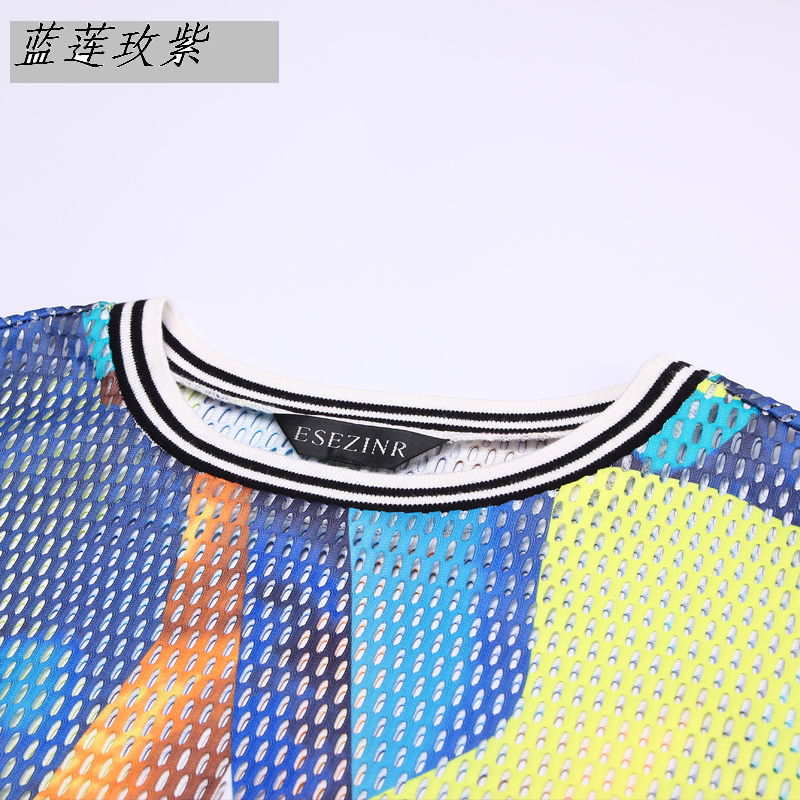 NEW 2017 spring T-Shirt fashion women clothing style long-sleeve slim hollow T-shirt female color block sun protection clothin
