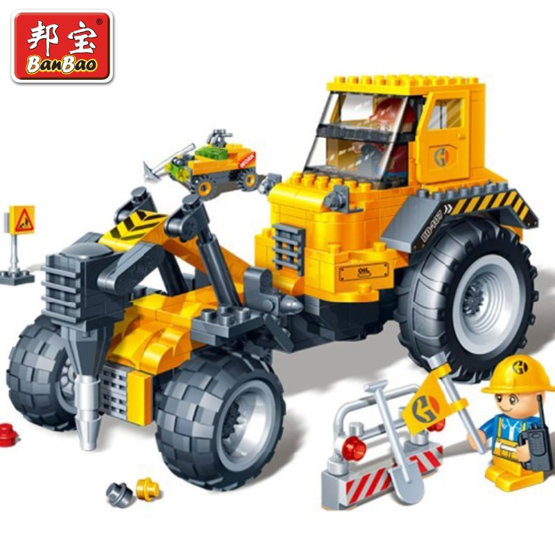 Banbao 8537 City Construction Drilling Machine Pull Back Car 262 pcs Plastic Model Building Block Sets DIY Educational Toys(China (Mainland))