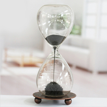 Free Shipping 1Piece Awaglass Hand-blown Sand Hourglasses Magnetic Sand Hourglass Desktop Decoration Magnetic Sablier Sand Clock(China (Mainland))