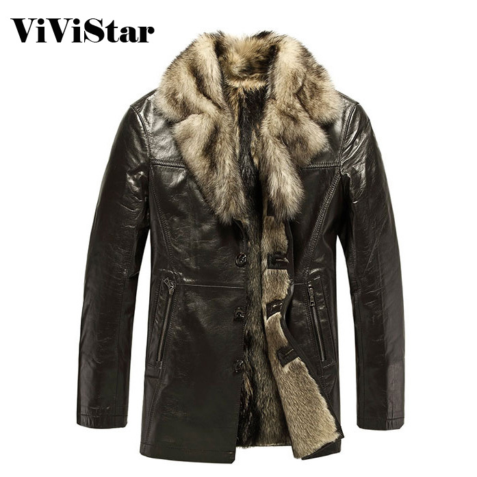 Big Collar Men Geniune Leather 2015 New Winter Snow Fashion Brand Business Dress Slim Fit Coats F1403Îäåæäà è àêñåññóàðû<br><br>