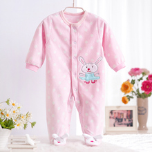 0-12M Autumn Fleece Baby Rompers Cute Pink Baby Girl Boy Clothing Infant Baby Girls Clothes Jumpsuits Footed Coverall V20(China (Mainland))