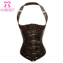 Brown Faux Leather Bustier Steampunk Corset Underbust Waist Training Corsets Steel Boned Korset Halter Tops Sexy Gothic Clothing