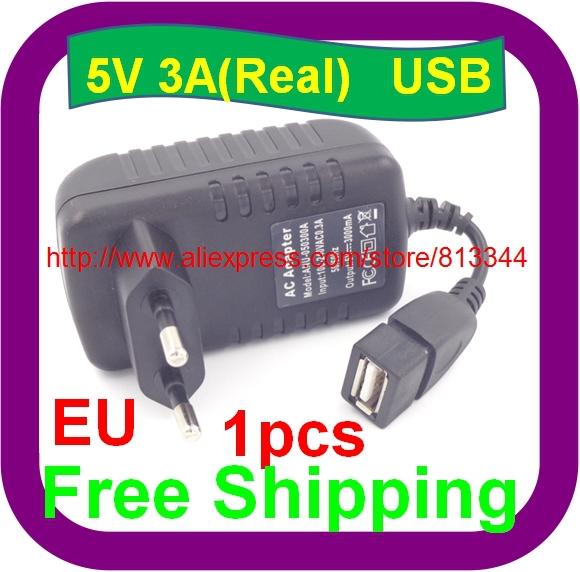 1 pcs Free Shipping EU plug 5v 3000mA usb charger 3A power adapter tablet pc usb wall charger(China (Mainland))