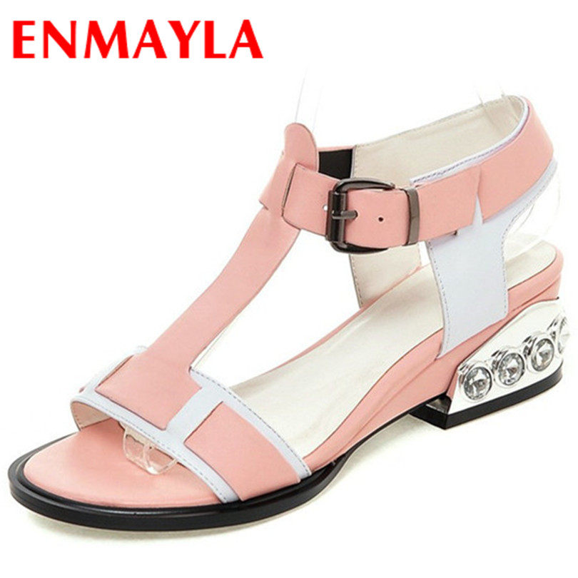 ENMAYLA New Fashion Mixed Colors Back Size 34-43 Strap Buckle Women Sexy Black and Pink Full Genuine leather Womens Sandals <br><br>Aliexpress