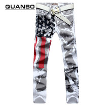 2016 new jogging American flag painted jeans brand jeans men straight men's casual pants men's denim trousers micro-bomb SIZE 48(China (Mainland))