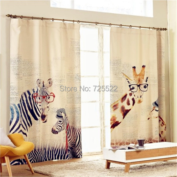 ,Fashionable Korean style window High grade cotton linen Cartoon Giraffe zebra curtains kids room,1 pc - Huarlily Import & Export Co., Ltd. store