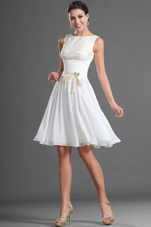 Knee Length Bridemaid Dress Modest White Chiffon Lace