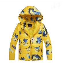 Minion Nette winter mäntel & Jacke, kinder kleidung Warme kapuzen kinder jacken Mädchen mantel winterjacke 3-10 T 3 Farbe Freies(China (Mainland))