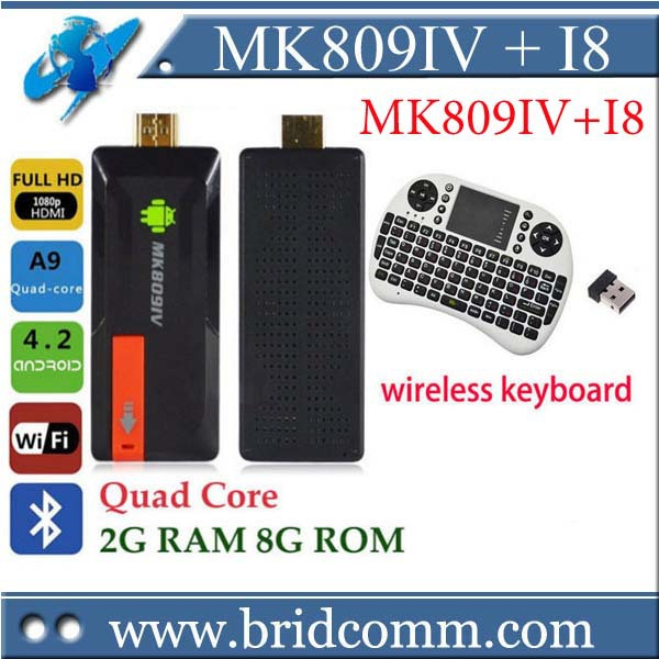 MK809IV MK809 IV Android TV BOX Quad Core RK3188T 2G 8GB Android 4.4 Kitkat smart tv Bluetooth XBMC mini PC HDMI iptv tv stick(China (Mainland))