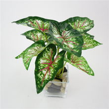 Home Decoration Artificial Green Plants Plastic Fake Flower Leaves Mini simulation small potted green plant taro leaves(China (Mainland))