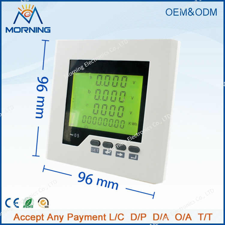 3LD3Y panel size96*96 low price industrial type LCD 3 phase digital energy meter, with fire monitor function(China (Mainland))