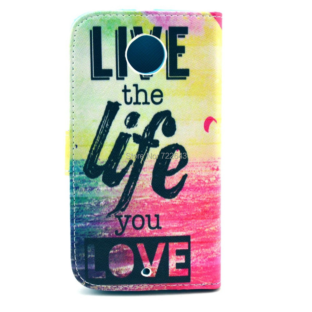#7888 Live The Life You Love Ocean Design Magnetic Flip PU Leather Case Cover For Motorola Moto X2 X+1 XT1097 Free Shipping(China (Mainland))