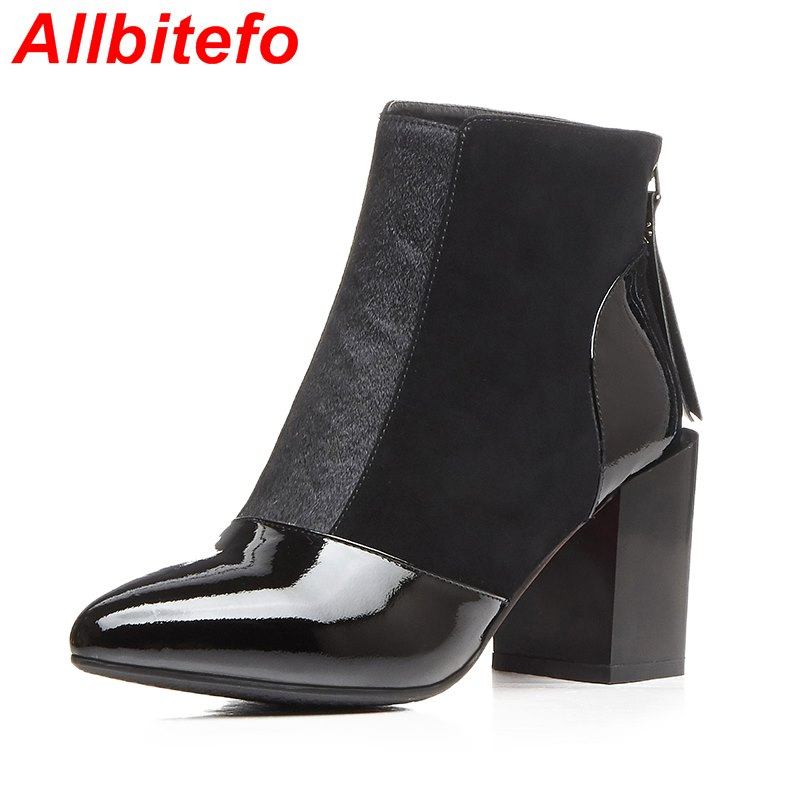 Фотография Thick heel genuine leather +horsehair fashion sexy high heel women ankle boots pointed toe women motorcycle boots boots woman