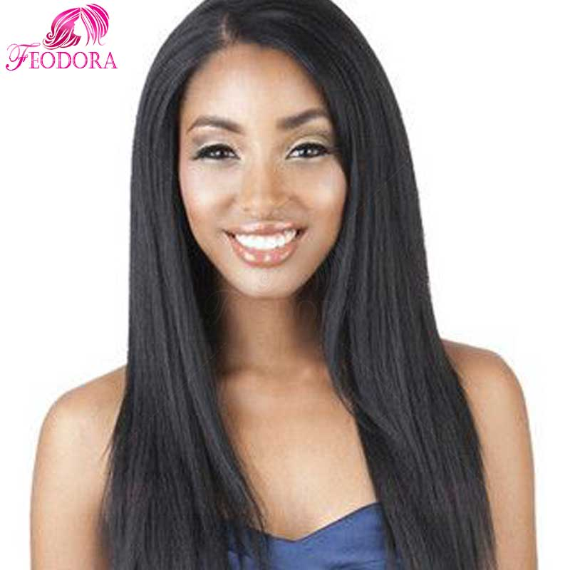 Hot sale silk top full lace wigs italian yaki straight human hair full lace wigs for black women with baby hair bleached knots(China (Mainland))