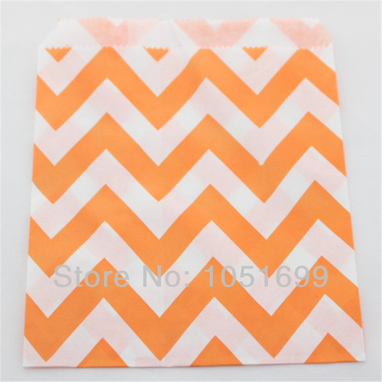 1000pcs/lot Eco-friendly Orange Chevron Paper Bags Wholesaled and Retail for Gift Food Packaging of Thanksgiving Day New Year(China (Mainland))