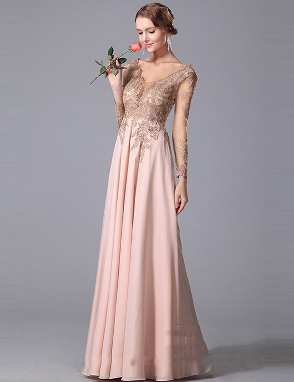 Blush Dresses with Sleeves   Dress images