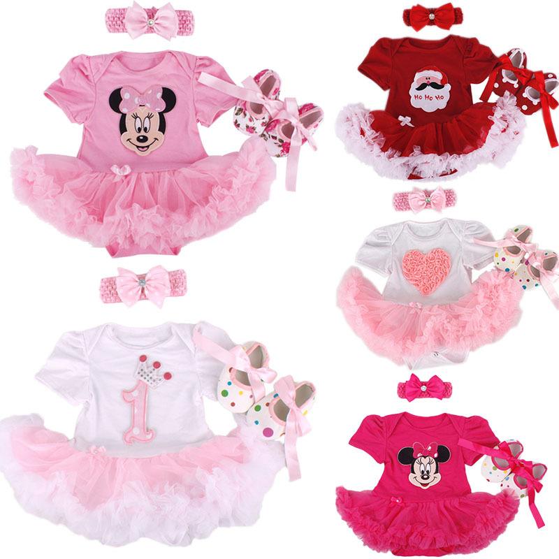 2015 Baby Girl Infant 3pcs Clothing Sets Tutu Romper Dress/Jumpersuit+Headband+Shoes Christmas Bebe Birthday Costumes Vestidos(China (Mainland))