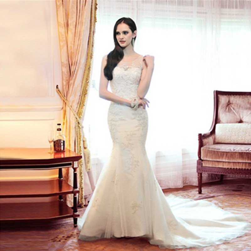 2015 hot sale super sexy white see through back mermaid for Super plus size wedding dresses