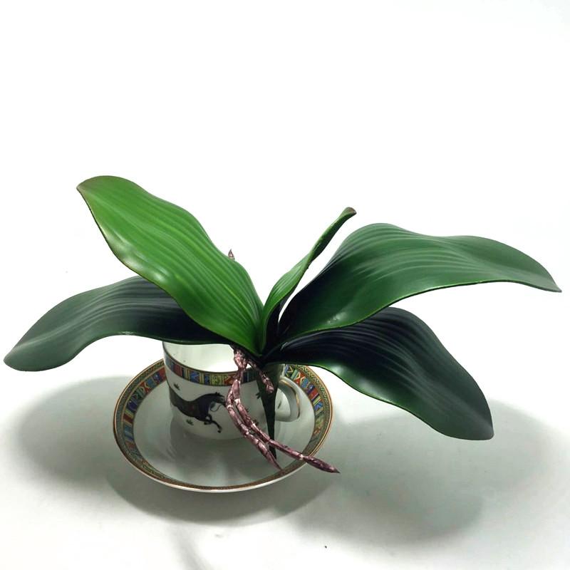 2016 nova flor Artificial Orquídea qualidade PU colagem leaveshigh textura deixa DIY arranjos de flores em vasos(China (Mainland))