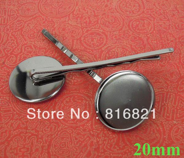 20mm Gunmetal Black tone Bobby Pins Round Bezel Tray Cabochon Hairpins Hairwear Hair Clips Base Settings Findings Crafts(China (Mainland))