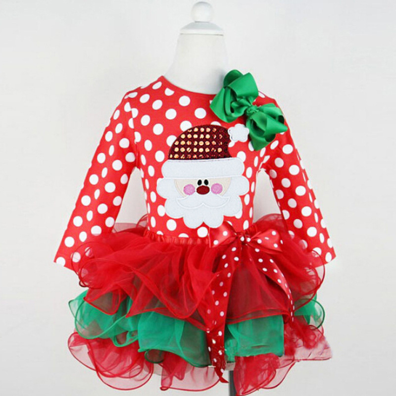 2015 Fall Spring Girls Children Christmas Dresses, Cotton Voile Patchwork Cute Baby Girl Xmas dresses Kids Clothes(China (Mainland))