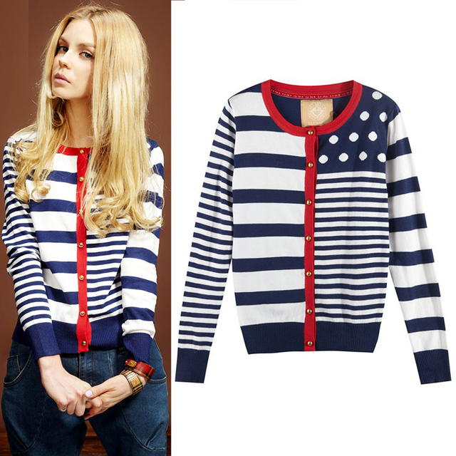 2015 Spring Autumn Женщины Pocket Female Темно синий Стиль Stripe кардиган свитер ...