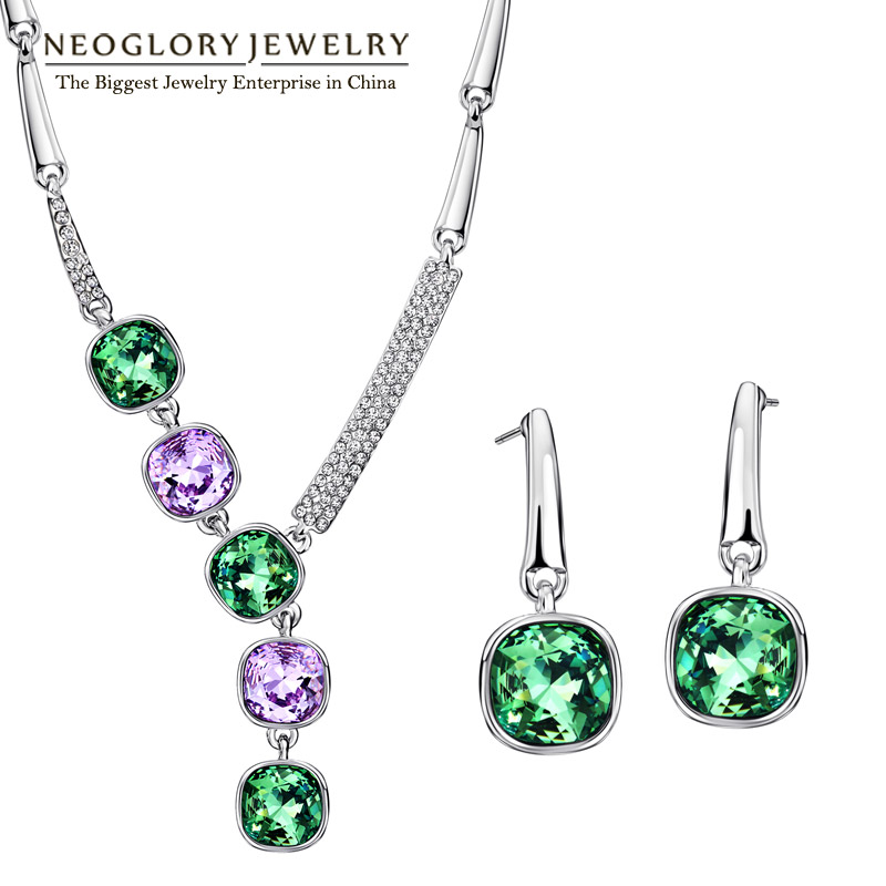 Neoglory MADE WITH SWAROVSKI ELEMENTS Rhinestone Platinum Plated Jewelry Sets With Necklace Earrings for Women Crystal Jewelry