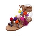 Bohemian Up Open Toe Sandals Handmade Rome gladiator sandals women Flats Fringed Fur Cross Strap Poms