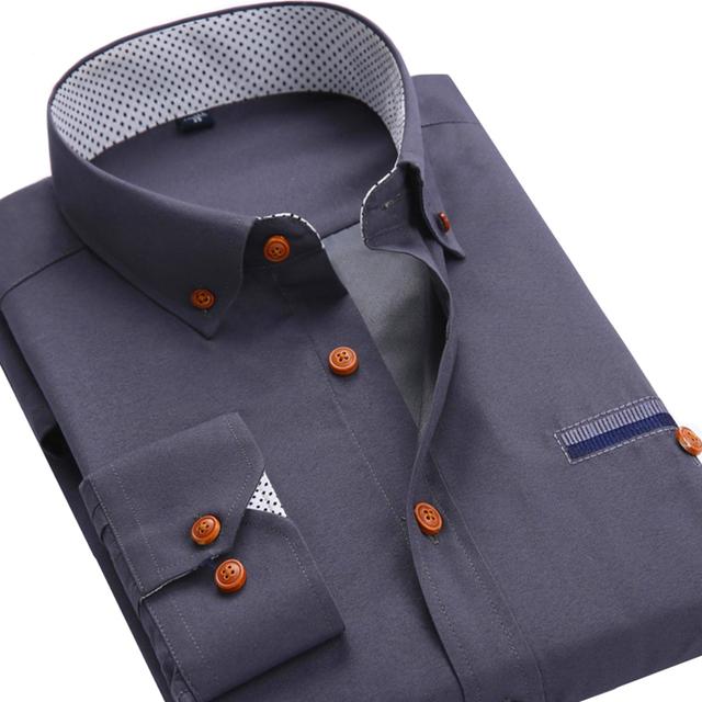 Мужчины с Длинными Рукавами Рубашки Slim Fit Стиль Дизайна Сплошной Цвет бизнес Повседневная ...