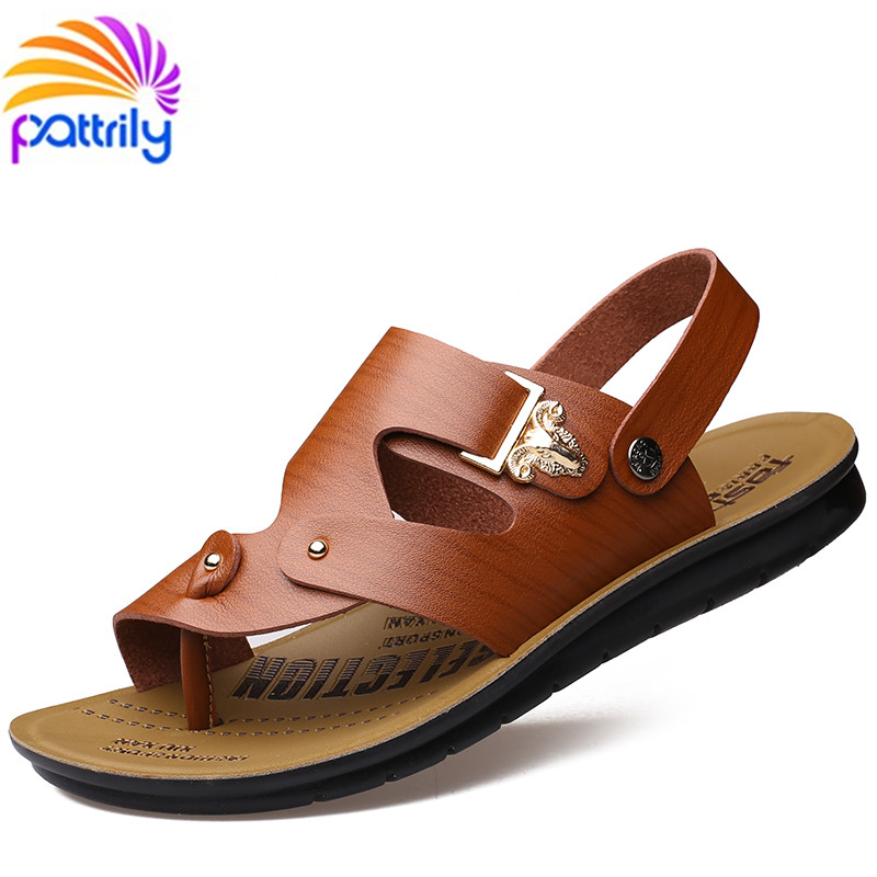 New 2016 Famous Brand Casual men slippers sandals Summer genuine slip slippers leather durable rubber fashion beach men shoes<br><br>Aliexpress