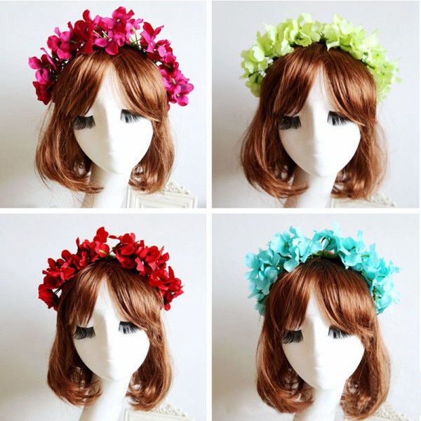 1* Floral Flower Garland Crown Headband Hair Band Bridal Festival Holiday Wreath Headwear(China (Mainland))