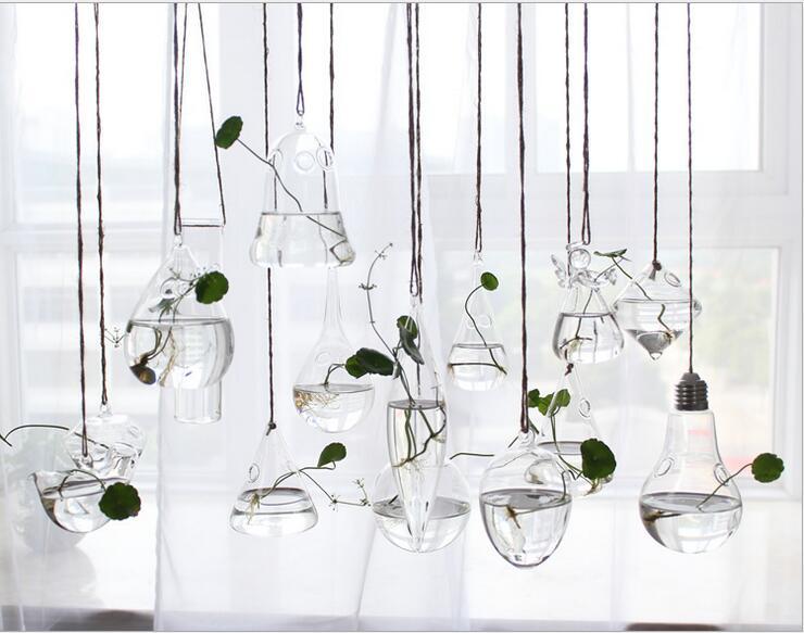 Cristal Floreros GLass Hanging Glass Terrarium Flowers Vases Christmas Wedding Decoration Vase - Super Beauty Accessary store