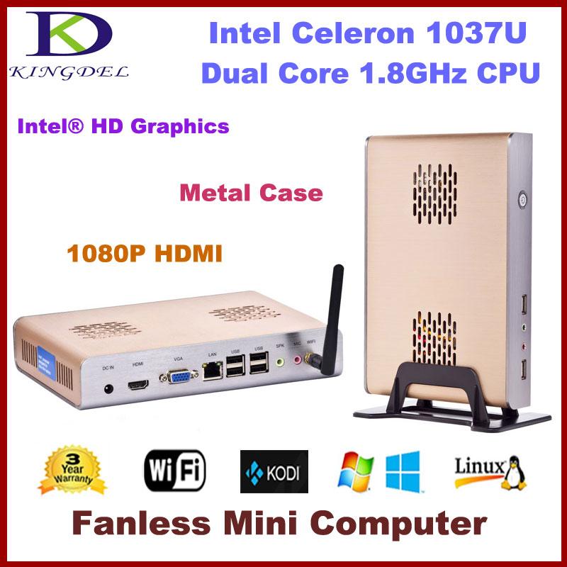 Kingdel Hot Sale Intel Celeron 1037U Dual Core 300M WiFi 4G RAM 1TB HDD Mini PC Fanless Workstations HTPC Home Computer(Hong Kong)