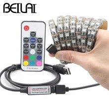 Buy BEILAI DC 5V USB LED Strip 5050 Waterproof RGB LED Light Flexible 50CM 1M 2M 5M add 3 17 24Key Remote TV Background Lighting for $5.13 in AliExpress store