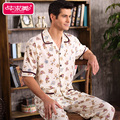 Short Sleeve Summer Men Pajama Sets Cotton Pyjamas Male Sleepwear Casual Character Homewear Turn down Collar