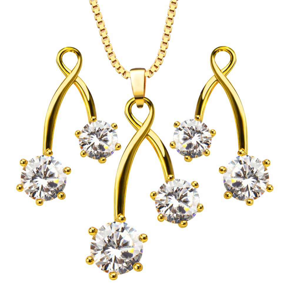 Luxury Crystal Pendants Necklaces Earrings jewelry Set For Women 18K Gold Plated Fashion Jewelry box gift S20115(China (Mainland))