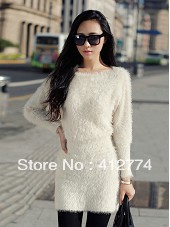 Bat sleeve sweater dress long-sleeved wool plush Slim Korean version of the new fall and winter clothes fashion women 16642(China (Mainland))