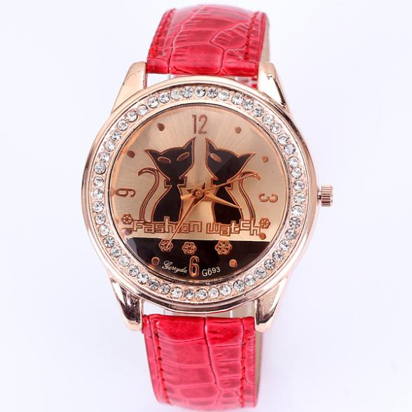 Relogio dropship fashion watches 2013 new watch leather strap quartz full crystal diamonds two cats for ladies gift whloesale(China (Mainland))